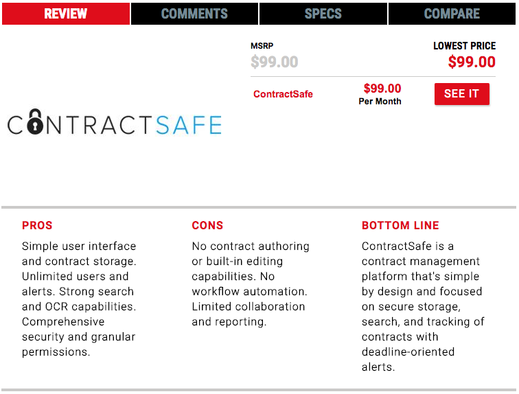 PC Magazine named ContractSafe the best CMS for companies who need smart and secure contract management.