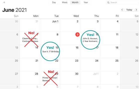 Contract Managmenet Calendar Example