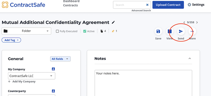 contract management system how to email contract