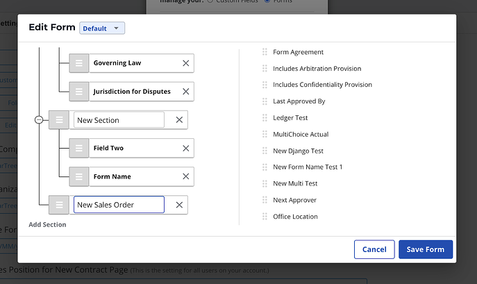 ledger field contract management software custom form